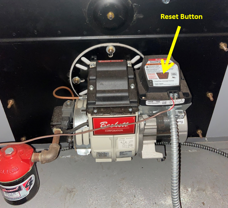 If you have run out of home heating oil, you will need to reset your burner once you've added heating oil or diesel fuel to the tank. This is the reset button on a late-model Beckett oil burner. Most systems have an easier-to-spot red reset button.