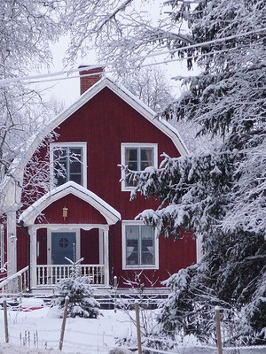 cold snowy house with oil heat
