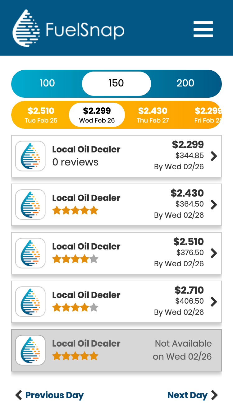 How To Use FuelSnap, Step 2 - Review and Compare Heating Oil Prices with Local Oil Companies Near You