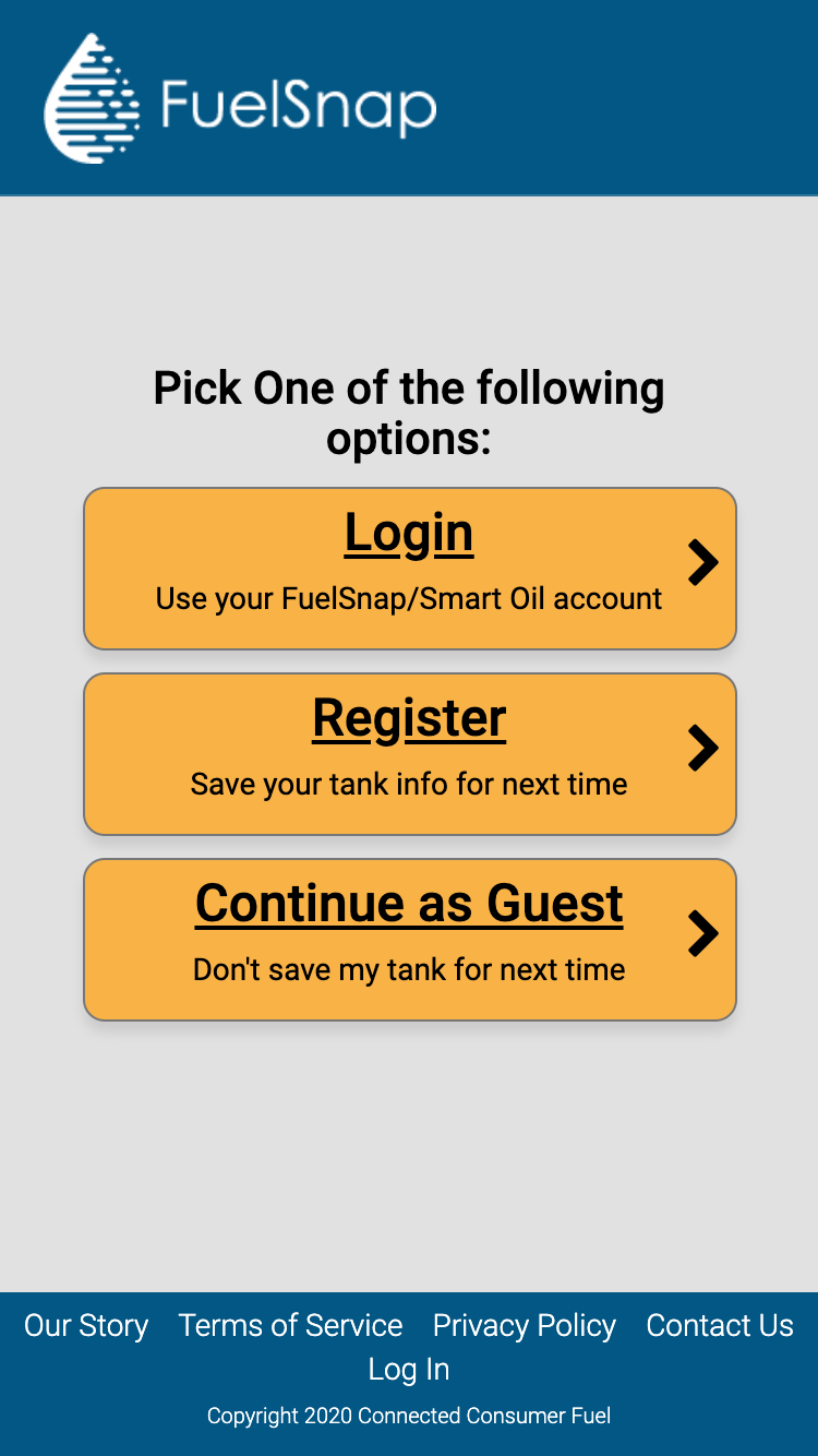 How To Use FuelSnap, Step 3 - Log into FuelSnap Home Heating Oil App
