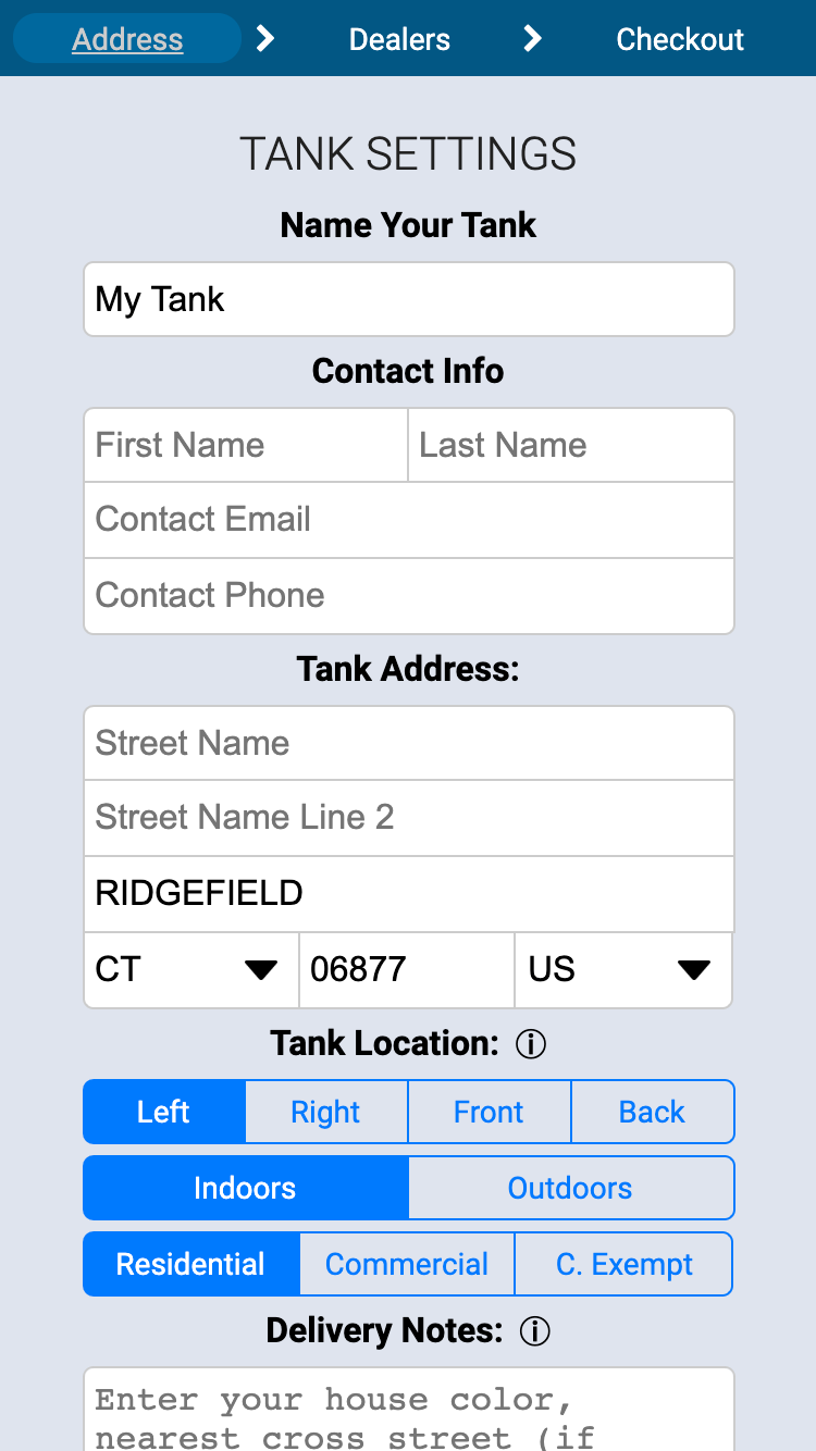 Heating Oil Tank Setting in FuelSnap Application Interface